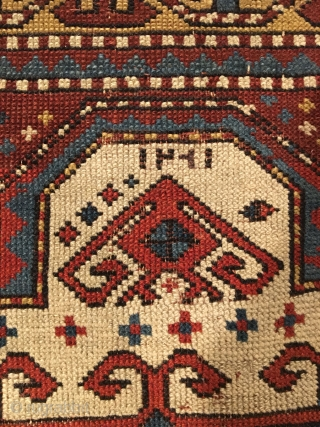 Early Tribal Kazak Prayer Rug. Inscribed Date 1261 = Circa 1845. Very good condition considering age with even wear. No repairs. 7 saturated colors. 2'2 x 3'11. Delicately hand washed.  Note the large  ...