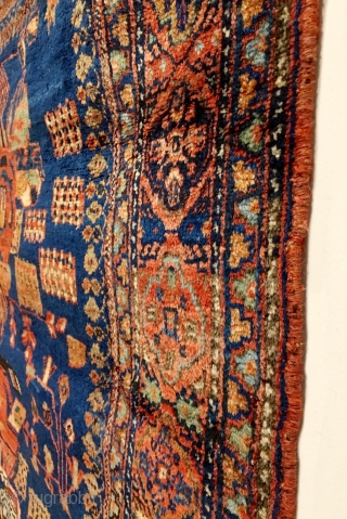 Antique Afshar Rug. 2nd Half 19th Century. Royal blue field with a central 'Gul Farang' design flanked by bunches of stylized blossoming branches and meandering outer vine, all within a terra-cotta cusped,  ...