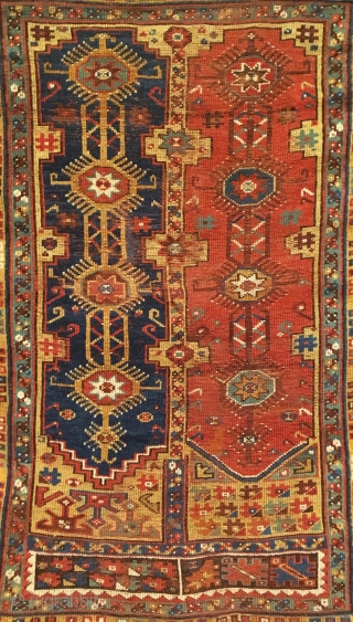 Antique Anatolian Megri (Makri). Mid 19th century. Turkish village double niche prayer rug. Saturated colors on silky wool. Original turquoise selvage. Slight loss to star motif ends. 4'2 x 5'5. 10 colors.  ...
