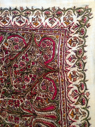 Antique indian 19th century embroidery square shawl..as you can see the condition of shawl is in mint colours are very bright & beautiful.   Size   157cm by 135cm.