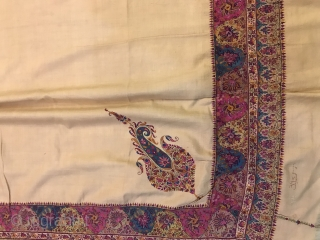 Antique 1830-40th century Indian double sided ( dorukha ) hand woven shawl on cream woollen pashmina, Magnificent masterpiece itself' shawl is in excellent condition' colours are really bright looks beautiful,
