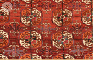 """RG1050- Antique Tekke carpet circa 1880 wool on wool foundation Old and Very good condition Size : 3.08m x 2.04m  10`1"""" x 6`8"""""""