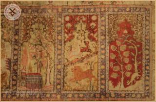 "RG 3050- Antique Old Qaisari long rug circa 1930 natural dyed silk on silk good condition Size : 2.20m x 0.96m  7`3"" x 3`2"""