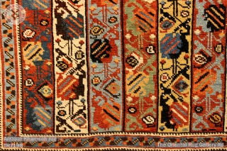 Antique Khamseh rug. Naturally dyed wool on a wool foundation Complete and original sides and ends restoration  1.80m x 1.21m