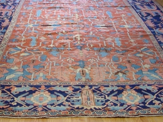 "9'4"" x 13'2"" Fine Serapi Persian Heriz , circa 1880-1900's , wool on cotton, no wears,"