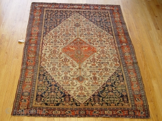 "Fine Senneh rug 4'6"" x 6'6"" , circa 1800 , wool on cotton , no wears, very good condition."