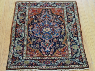 "Antique Persian Farahan Sarouk rug, 2'1"" x 2'9"", very good original condition."
