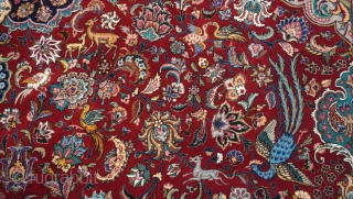 """Antique Persian Isfahan oriental rug, size is 9'8"""" x 13'ft. (264 x 396 cm.), full pile, silk foundation and kurk wool, 441 kpsi, professionally hand washed and cleaned just recently, exquisite design  ..."""