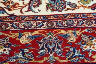 "Antique Isfahan kurk wool pile and silk foundation, 4'10"" x 7'5"" , very good original condition , no repairs, no wears, circa 1900 or older."