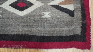 """Antique Native American Navajo Indian hand Made Wool, measures 4'2"""" x 4'7"""" very good condition."""