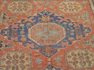 "Antique Caucasian Sumack rug,  6'10"" x 9'5"" , beautiful colors, this very old and large  Sumack is in very good condition, ends are intact, just shows some wears but no  ..."