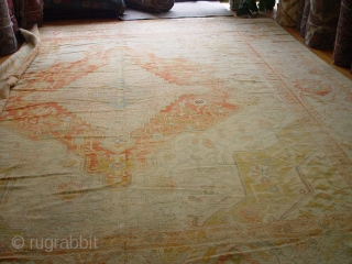 "Palace size 17'6"" x 19' Spectacular Antique Oushak, great condition."
