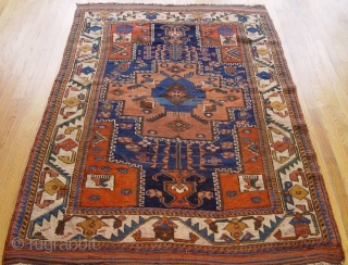 "Antique Persian Afshar , size is 4' x 6'3"" (122 x 190 cm) circa 1880, professionally hand washed."
