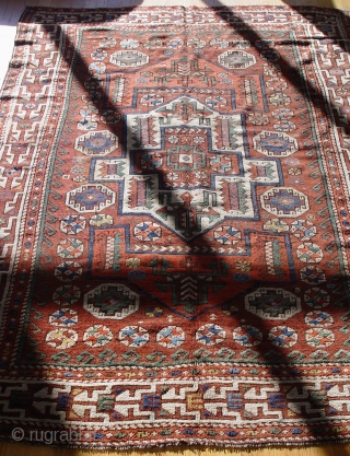 """Antique Bergama Turkish rug, 5' X 6.8"""", 100% wool pile/warp/weft, circa 1860-1870, binding redone and minor re-knotted areas,"""