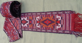 Antique Yomud Turkmen complete tent-band measures: (1' x 60' feet) circa 1880 or older, very good original condition.
