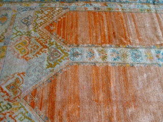"Antique Angora Oushak rug, 8'2"" x 10'9"" , Circa 1880's, made of 100% wool both pile and foundation, hand washed and cleaned professionally, full pile however shows a very small areas of  ..."