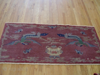 An antique Ceremonial Peking Chinese rug, size 3' X 6' , circa 1900-1910
