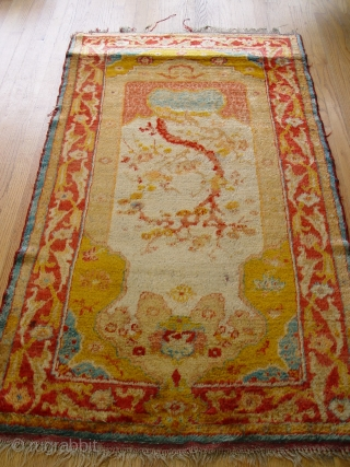 "Angora Anatolian Turkish Oushak size 3'4"" X 5'11"" second or third quarter of 19th Century"