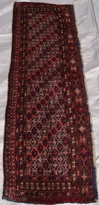 "Antique Turkmen Torba, size 1'5"" x 4'8"" , circa 1860's, good condition."