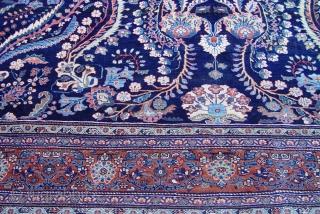 """Antique Persian Farahan Sarouk size: 9' x 12'5"""" , circa 1880's"""