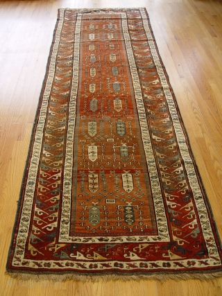 "Antique Caucasian Kuba, 3'6"" x 11'9"", c. 1880's, very good condition, no repairs or restoration, good pile."