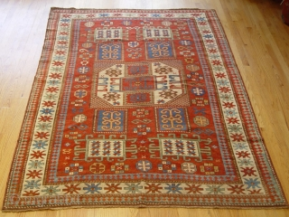 "Antique Caucasian Karachov Kazak , 5'6"" x 7'8"", mid 19th century, very good condition, minor area of re-knotting, ends and sides are intact and original."