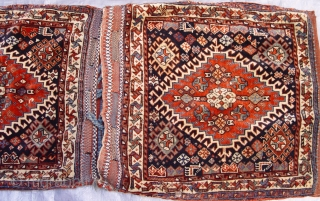 "Antique Persian tribal Qashqai complete set of Saddle bags/khorjin, excellent condition , size: 1'11"" x 4'1"" (or 23"" x 49""inches)."