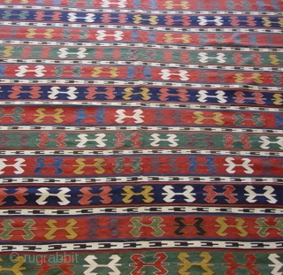 """Antique Caucasian Kilim ca. 1900's , size is 6'1"""" x 7'8""""ft. (187 x 233 cm.), very good original condition, has been hand washed professionally just recently."""