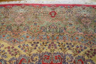 "Antique Persian Kerman oriental rug, it measures 13'6"" x 15'ft. (412 x 458 cm.), ca. 1920's, excellent condition, professionally hand washed and cleaned."
