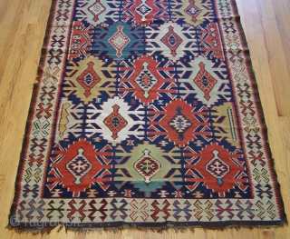 """Antique Caucasian Kuba Kilim, ca. 1840-1860's, the size is 4'5"""" x 7'6""""ft. (135 x 229 cm.) super tightly woven, hand washed professionally."""