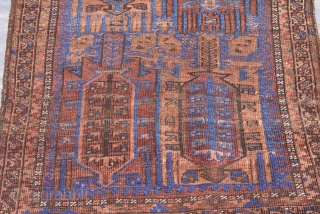"Antique Balouch rug 2'8"" x 4'10"" (82 x 148 cm)."