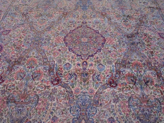 "Persian Lavar Kerman ca. 1920's, measures 12'9"" x 17'ft. (389 x 519 cm.) excellent original condition,full pile throughout the rug, hand washed and cleaned, no repairs, the sides and ends are complete.  ..."