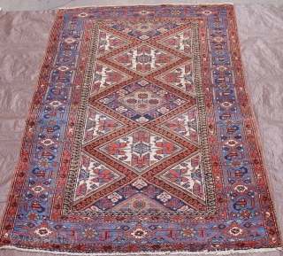 Antique Persian Karaja rug, ca. 1900-1910, it is 4' x 7', hand washed and cleaned, very good condition.