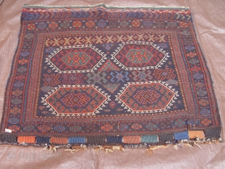 "Antique Kurdish Bag Face, size 3'1"" x 3'6"" (94 x 107 cm)100% wool, thick pile, no repairs."
