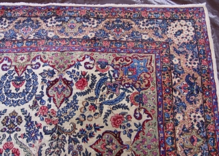 Antique Persian Ravar Kerman circa 1900 , the size is 6' x 9'ft.