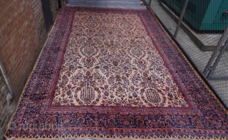 "Manchester Wool Palace size antique Kashan Persian oriental rug ca. 1900's, measures 12' x 18'8""   (366 x 570) excellent original condition, hand washed and cleaned professionally, full pile, no wears."