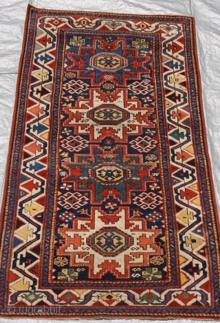 "Antique Caucasian Kazak Lesghi star design, circa 1850's-1860's, measures 3' x 5'6"" ft. (92 x 168 cm.)"