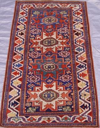 """Antique Caucasian Kazak Lesghi design, circa 1850's-1860's,  size 3' x 5'6"""" ft. (92 x 168 cm.)"""
