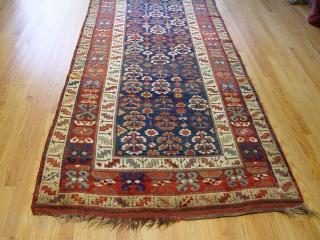 "Fine Kurdish rug, 4'1"" X 10'6"" , circa 1870's , wool on wool, dark blue background color, no repairs."