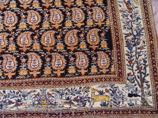"Antique Persian Farahan, 4'7"" X 6'2"" ft. (140 x 188 cm) Amazing colors, wonderful origin condition,no repairs, ends and sides are original and in mint condition, super tightly woven."
