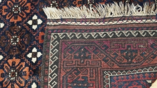 """Antique Balouch Yaqub Khani large rug with Mina Khani design, size: 5'1"""" x 9'1"""" ft (155 x 277 cm.) blue filed, turn of the century, wonderful original condition, no wears, no stain,  ..."""