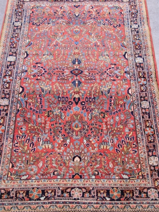 "Antique Persian Sarouk rug, size 4'3"" x 7'1""ft. full pile , circa 1910-1920's, mint original condition."