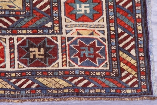"Antique Kuba Caucasian Rug circa 1800-1860's, size 3'8""x 4'9""ft. great condition."
