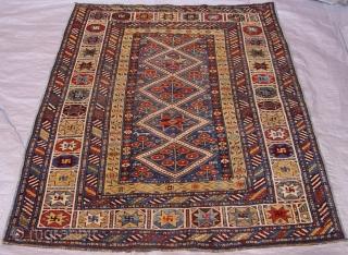 "Antique Kuba Caucasian Rug circa 1800-1860's, size 3'8""x 4'9""ft. great condition."