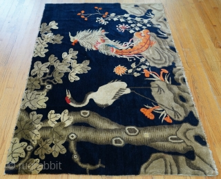 """Antique Chinese Peking oriental rug, ca. 1900s, size is 3'10"""" x 5'10"""", very good condition with a few very small old repair, has been hand washed and cleaned professionally just recently, sides  ..."""