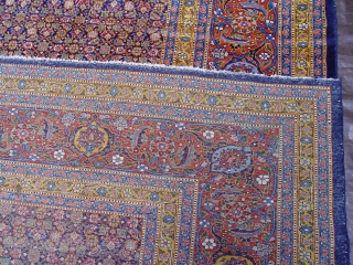 """Antique Persian Senneh large rug, size 9'7"""" x 14'6"""", circa 1850's-1880's, 100% wool pile, amazing colors, very good original condition , no restoration , no repairs."""