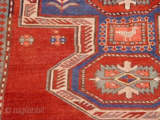 "Antique Caucasian Kazak rug, hand knotted 100% Wool, c.1850-1880's, size 5'6"" x 6'9"""