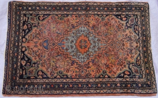 "Antique Persian Farahan Sarouk rug, 1'8"" x 2'5"" ft. /51 x 61 cm. , circa 1880's , great original condition, no repairs."