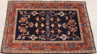 "Antique Persian Mohajeran Sarouk rug, circa 1880 to 1900's, size is 2' x 2'11""ft. / 61 x 89 cm. great original condition, full medium pile."
