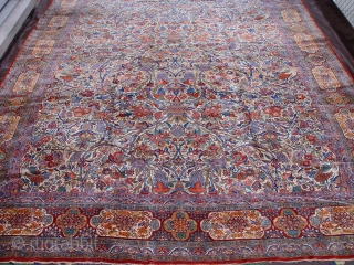 "Antique Persian dabeer Kashan rug , size 10'4"" x 14'4"" circa 1880 - 1900 , original mint condition , no repairs, no worn areas and no touch up, no odor, has been  ..."